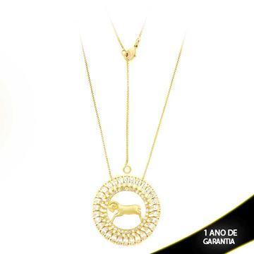 Imagem de Corrente Feminina Mandala com Zirconias e Símbolos de Signo 40cm Mais 5cm de Extensor - 0402793