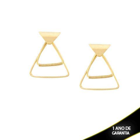 Imagem de Brinco Triângulos com Detalhe Aramado - 0209417