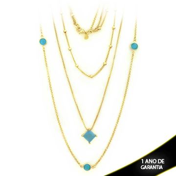 Imagem de Corrente Feminina Três Malhas com Pedras Naturais Azul Claro 50cm - 0402805