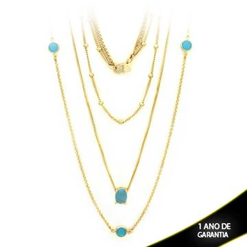 Imagem de Corrente Feminina Três Malhas com Pedras Naturais Azul Claro 50cm - 0402803