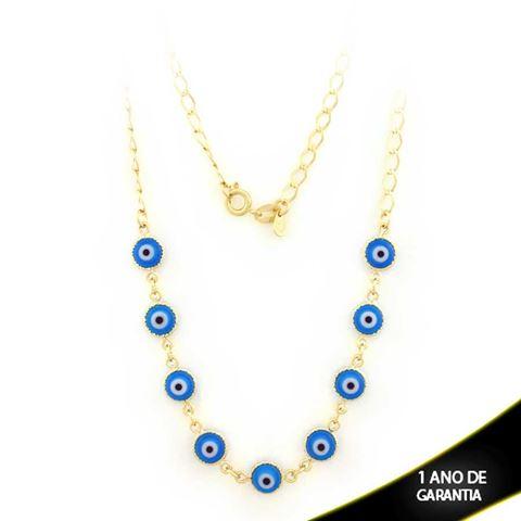 Imagem de Corrente Feminina com Olhos Gregos Azul Claro ou Azul Escuro 45cm - 0402833