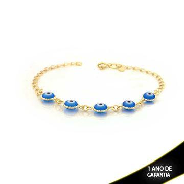 Imagem de Pulseira Feminina com Olhos Gregos Azul 19cm - 0503219