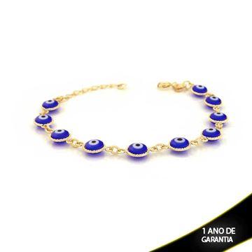 Imagem de Pulseira Feminina com Olho Grego Azul Claro ou Azul Escuro 16cm Mais 4,5cm De Extensor - 0503221