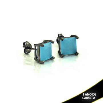 Imagem de Brinco Banho Negro com Pedra Natural Quadrada Várias Cores - 0210340