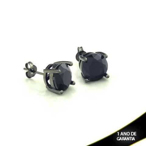 Imagem de Brinco Banho Negro com Pedra Natural Redonda Várias Cores - 0210342