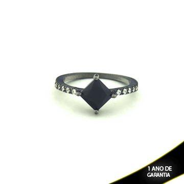 Imagem de Anel Banho Negro com Zircônias e Pedra Natural Várias Cores - 0104478