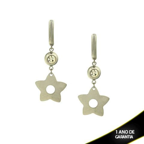 Imagem de Brinco Aço Inox Estrela com Pedra de Strass  - 0202816