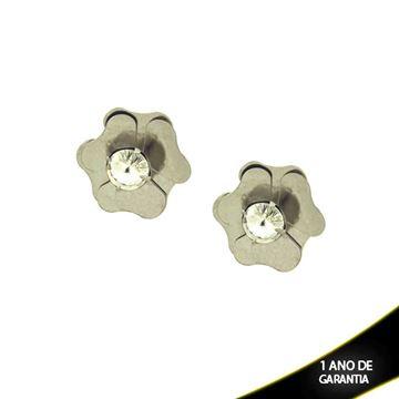 Imagem de Brinco Aço Inox Flor com Pedra de Strass - 0203147