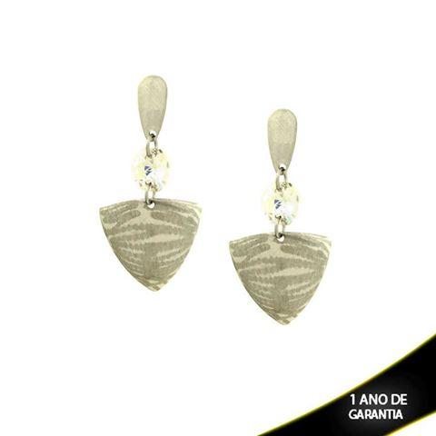 Imagem de Brinco Aço Inox Lixado com Pedra Acrílica Furta-Cor - 0203544