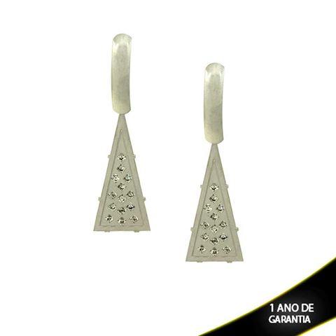 Imagem de Brinco Aço Inox Triângulo com Strass - 0203233