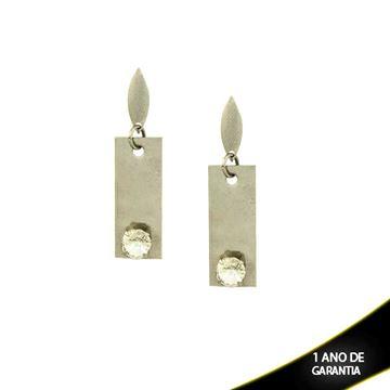 Imagem de Brinco Aço Inox com Pedra de Cristal Branca ou Furta-Cor  - 0200291