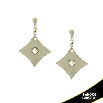 Imagem de Brinco Aço Inox Liso com Pedras de Cristal - 0201785