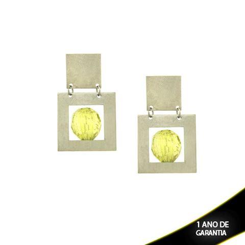 Imagem de Brinco Aço Inox Liso com Pedra Acrílica Verde ou Branca - 0201767