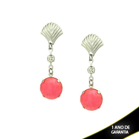 Imagem de Brinco Aço Inox com Um Strass e Pedra Acrílica Rosa ou Laranja - 0205383