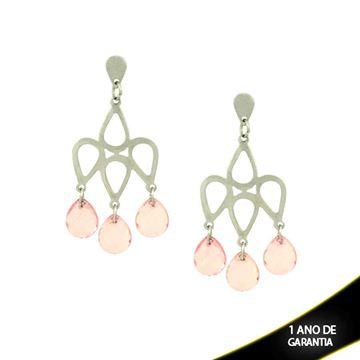 Imagem de Brinco Aço Inox com Pedras Acrílicas Rosa ou Amarelo - 0205066