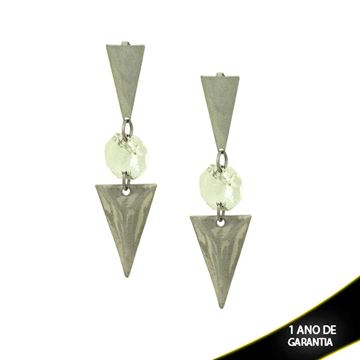 Imagem de Brinco Aço Inox com Pedra de Cristal e Peça Lixada - 0200262