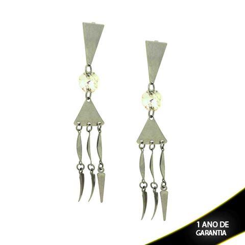 Imagem de Brinco Aço Inox com Pedra de Cristal Furta-Cor e Pingentes Pendurados - 0200243