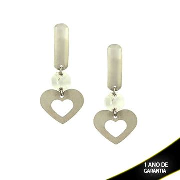 Imagem de Brinco Aço Inox Coração com Pedra de Cristal Branca ou Furta-Cor  - 0203820