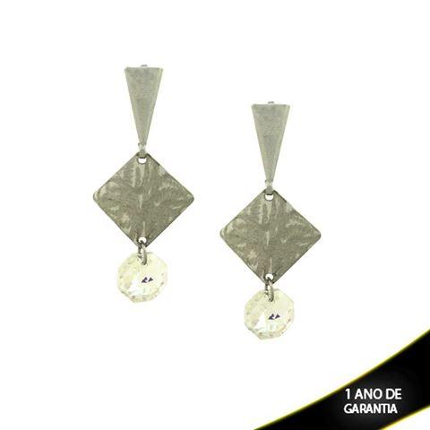 Imagem de Brinco Aço Inox Lixado com Pedra de Cristal Furta-Cor  - 0200540