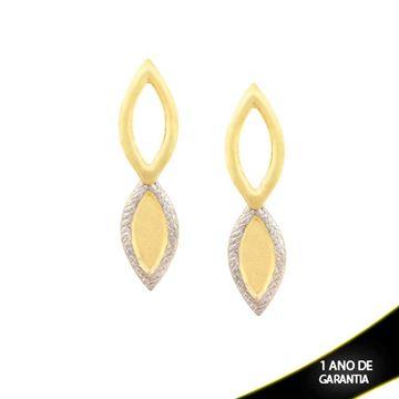 Imagem de Brinco Fosco com Diamantado e Aplique de Rodio - 0209803