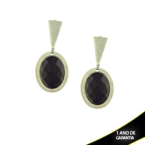 Imagem de Brinco Aço Inox Oval com Pedra Preta Acrílica - 0201639