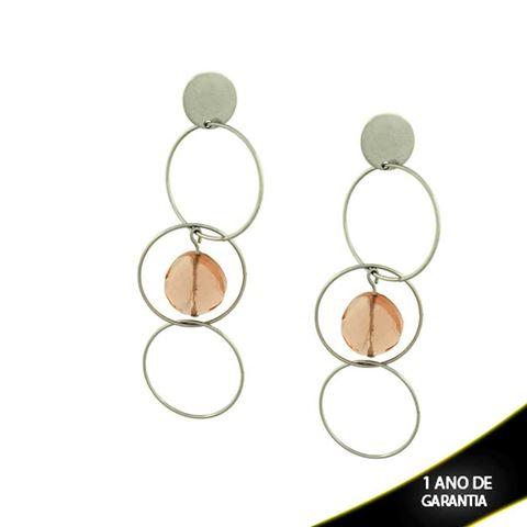 Imagem de Brinco Aço Argolas Vazadas com Pedra Acrílica Branca ou Rose - 0206881