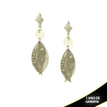 Imagem de Brinco Aço Inox com Pedra de Cristal e Folhas Lixada - 0201757