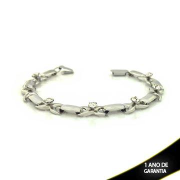 Imagem de Pulseira Feminina Aço Inox em X com Strass 17cm - 0501149