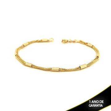 Imagem de Pulseira Feminina com Canutilhos Diamantados 18cm - 0502998