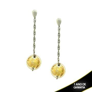 Imagem de Brinco Aço Inox com Bola Acrílica Prata ou Dourada - 0200276