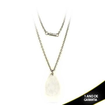 Imagem de Corrente Aço Inox Feminina com Pedra Acrílica em Gota 45cm - 0401623