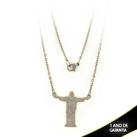 Imagem de Corrente Aço Inox com Cristo Redentor no Meio 53cm - 0401940