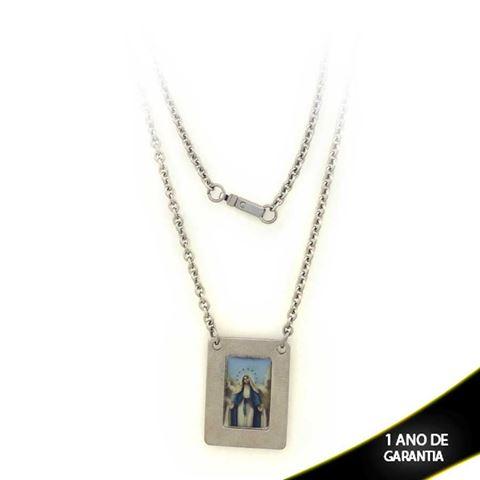 Imagem de Corrente Aço Inox Placa com Sagrado Coração de Maria ou Nossa Senhora das Graças 45cm - 0401790