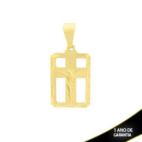 Imagem de Pingente Placa com Corpo de Cristo e Diamantado em Volta - 0303834