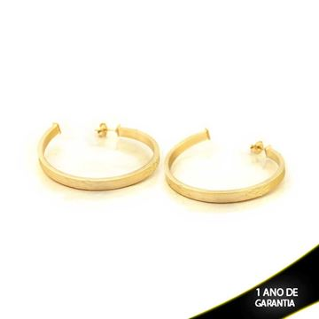 Imagem de Brinco Argola Tubo Quadrado Fosca com Detalhes Diamantados - 0210307