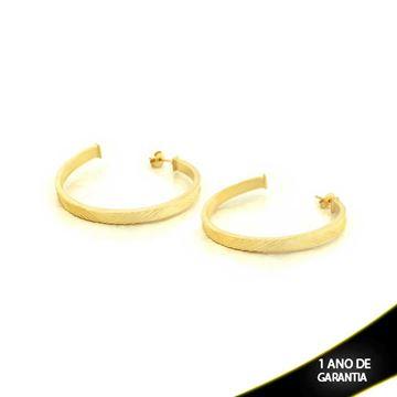 Imagem de Brinco Argola Tubo Quadrado Fosca com Detalhes Diamantados - 0210308