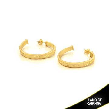 Imagem de Brinco Argola Tubo Quadrado Fosca com Detalhes Diamantados - 0210311