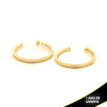 Imagem de Brinco Argola Tubo Quadrado Fosca com Detalhes Diamantados - 0210309