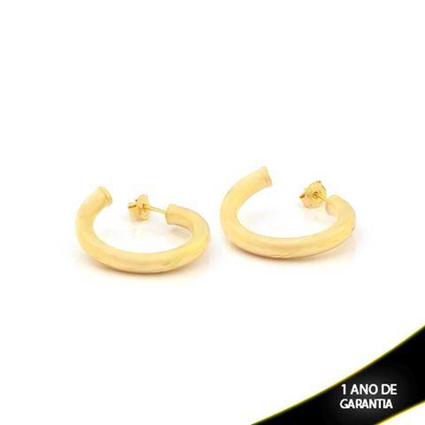 Imagem de Brinco Argola Tubo Fosco com Detalhes Diamantados - 0210316