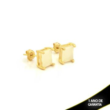 Imagem de Brinco com Pedra Natural Retangular Várias Cores - 0210385