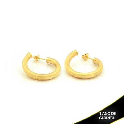Imagem de Brinco Argola Tubo Fosco com Detalhes Diamantados - 0210314