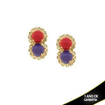 Imagem de Brinco com Pedras Acrílicas Vermelho e Azul com Strass - 0209575