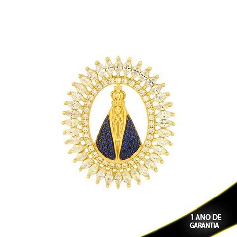 Imagem de Pingente Nossa Senhora Aparecida com Zircônias e Aplique de Rodio - 0304047