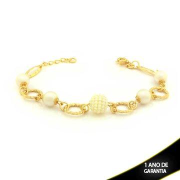 Imagem de Pulseira Feminina Diamantada com Pérolas 19cm Mais 2cm De Extensor - 0503300