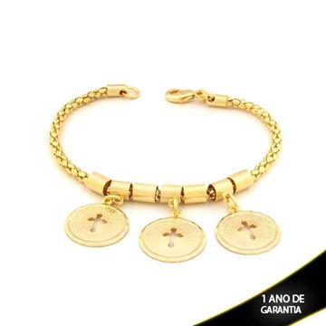 Imagem de Pulseira Feminina com Três Medalhas Escrito a Oração do Pai Nosso e Cruz Vazadas 19cm - 0503282
