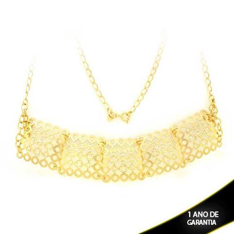 Imagem de Corrente Feminina Choker Fosca e Diamantada 25cm Mais 11cm de Extensor - 0402872