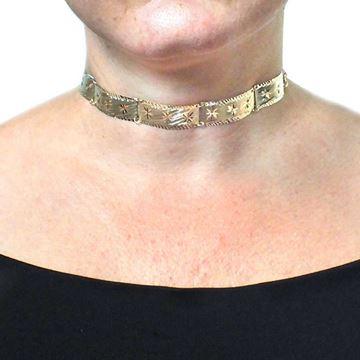 Imagem de Corrente Feminina Choker Escrava Lixada e Diamantada 27cm Mais 10cm de Extensor - 0402874