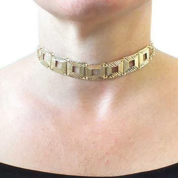 Imagem de Corrente Feminina Choker Lixada e Diamantada 24cm Mais 10cm de Extensor - 0402866