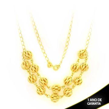 Imagem de Corrente Feminina Dupla com Bolas Foscas e Diamantadas Vazadas 35cm Mais 5cm de Extensor - 0402870