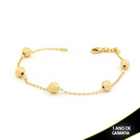 Imagem de Pulseira Feminina com Cinco Bolas Foscas e Diamantadas 20cm - 0503333